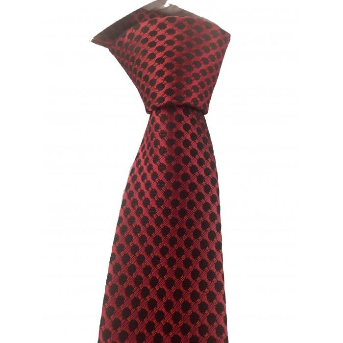 Kırmızı ve Siyah Puantiyeli Slim Kravat - Brianze