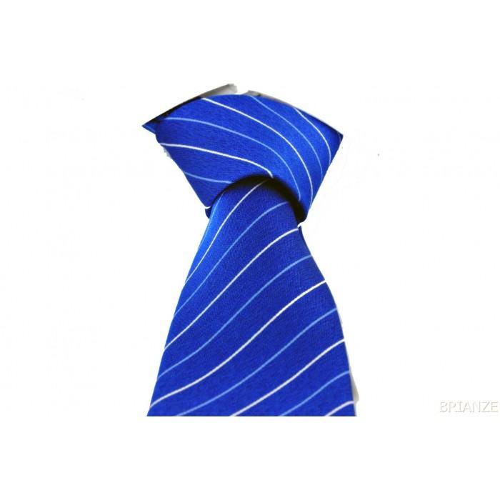 Mavi Beyaz Çizgili Mendilli Lacivert Kravat - Brianze