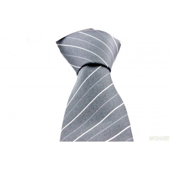 Beyaz Çizgili Desenli Mendilli Gri Kravat - Brianze