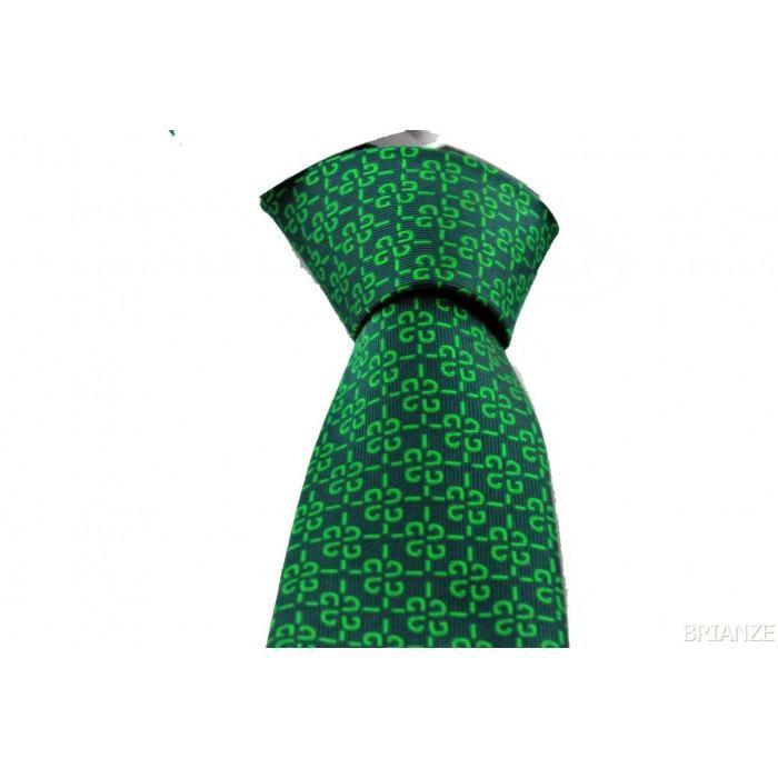 Koyu Yeşil Desenli Mendilli Kravat - Brianze