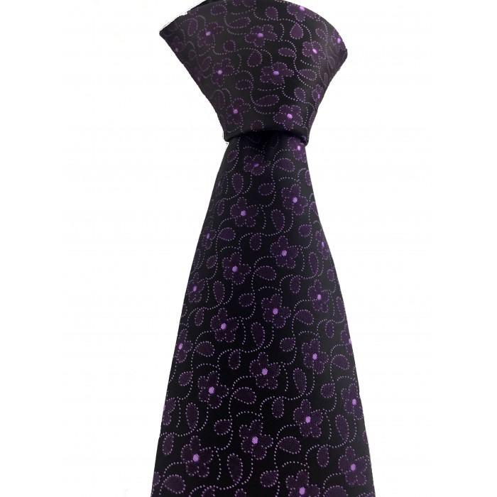 Mor Çiçek Desen Mendilli Siyah Kravat -Brianze