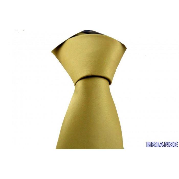 Altın Sarısı Dupont Saten Mendilli Kravat - Brianze