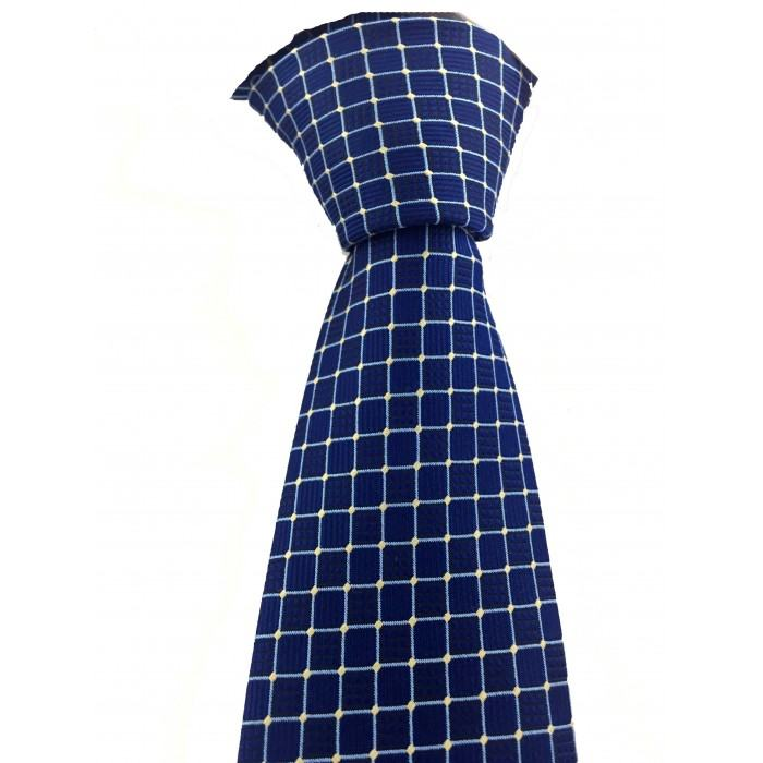 Açık Mavi Kareli Mendilli Saks Mavi Kravat - Brianze