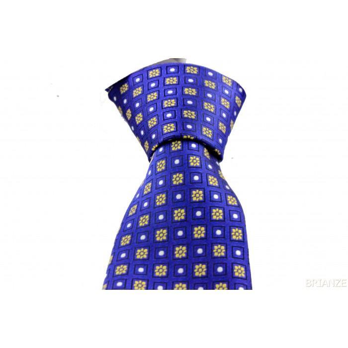 Sarı Çiçek Desen Mendilli Saks Mavi Kravat - Brianze