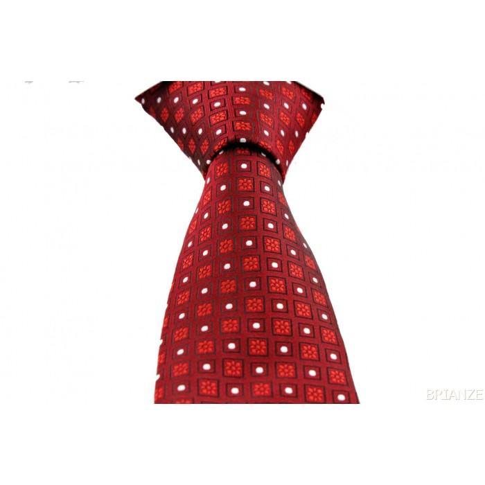 Kırmızı Çiçek Desenli Mendilli Kravat - Brianze