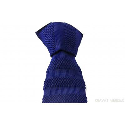 Parliament Mavi Kalın Çizgili Örgü Kravat - Brianze