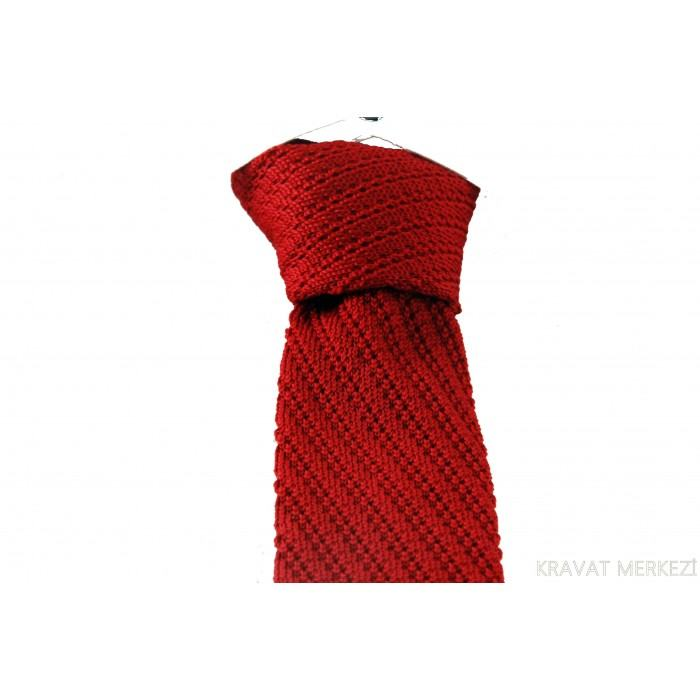 Eğik Çizgi Desen Kırmızı Örgü Kravat - Brianze