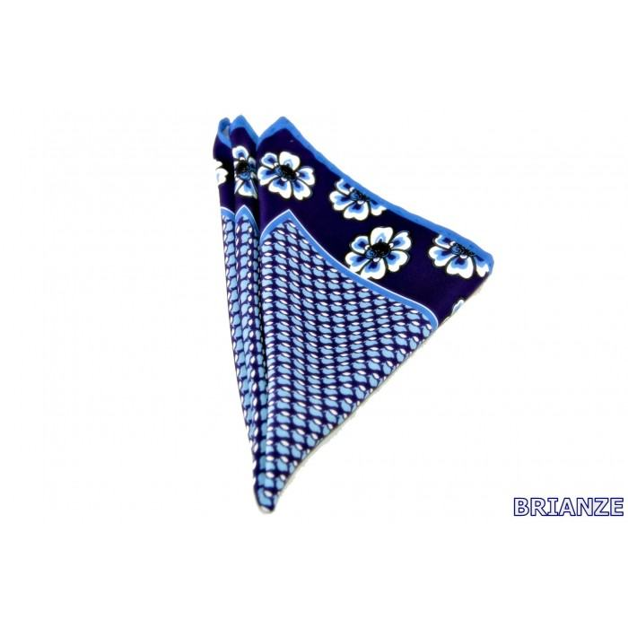 Çiçek Desen Lacivert Mavi Mendil - Brianze