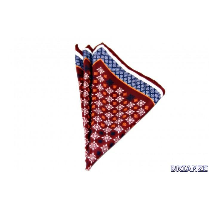 Motif Desen Kırmızı Kravat Mendili - Brianze