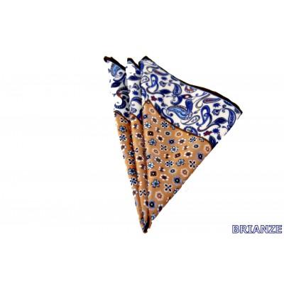 Gold Çiçek ve Şal Desen Kravat Mendili - Brianze