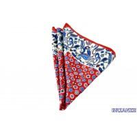 Kırmızı Çiçek ve Şal Desen Kravat Mendili - Brianze