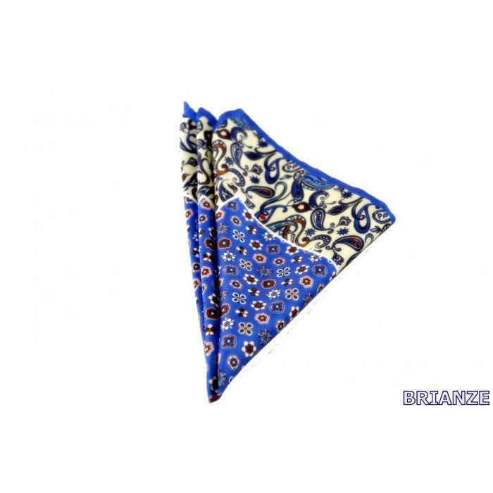 Mavi Çiçek ve Şal Desen Kravat Mendili - Brianze