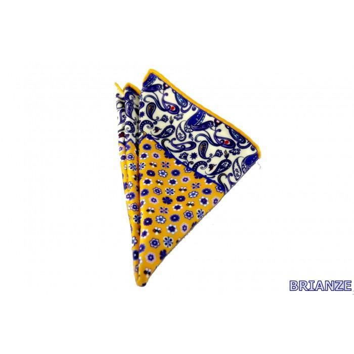 Sarı Mor Çiçek ve Şal Desen Kravat Mendili - Brianze