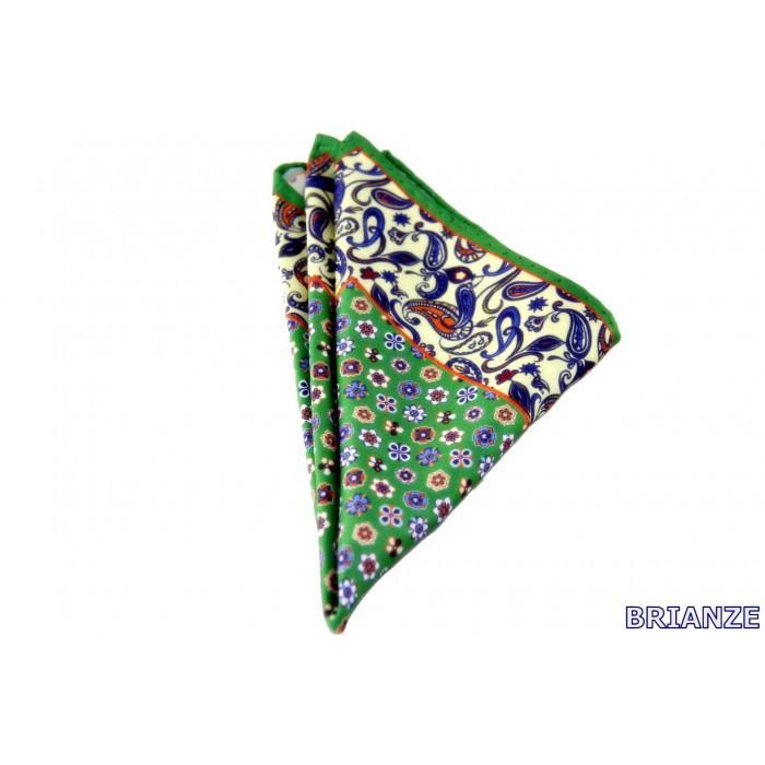 Yeşil Cicek ve Sal Desen Kravat Mendili - Brianze