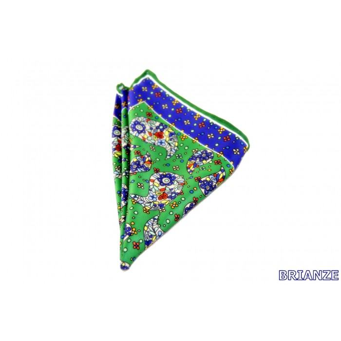 Şal Desen Lacivert Yeşil Mendil - Brianze