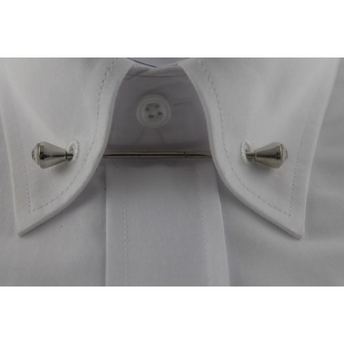Gümüş Rengi Taşlı Gömlek Yaka İğnesi - Brianze GY-12