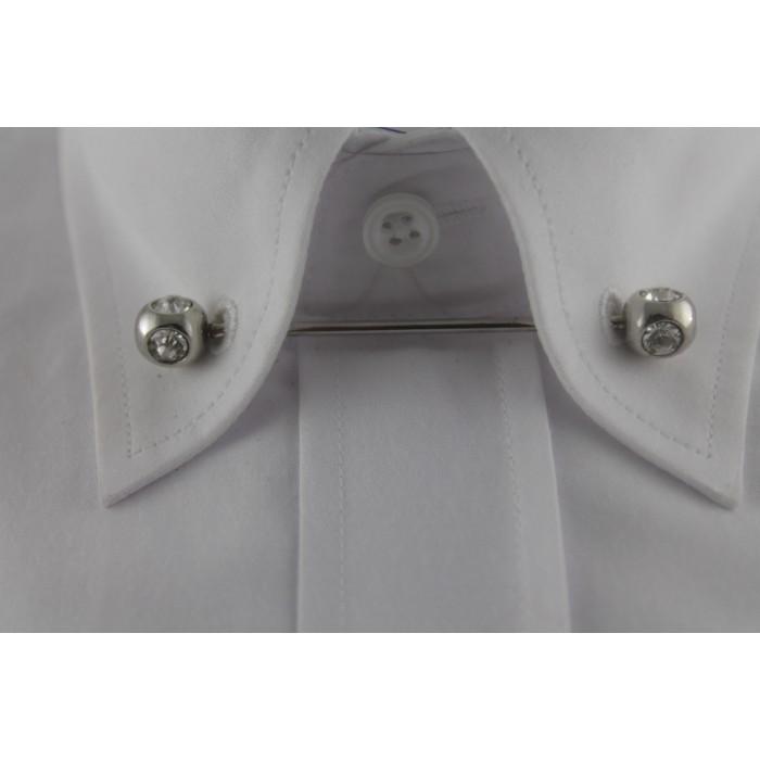 Gümüş Rengi Taşlı Gömlek Yaka İğnesi - Brianze GY-8