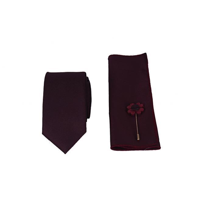 Bordo Kravat Mendil Yaka Çiçeği Set- Brianze