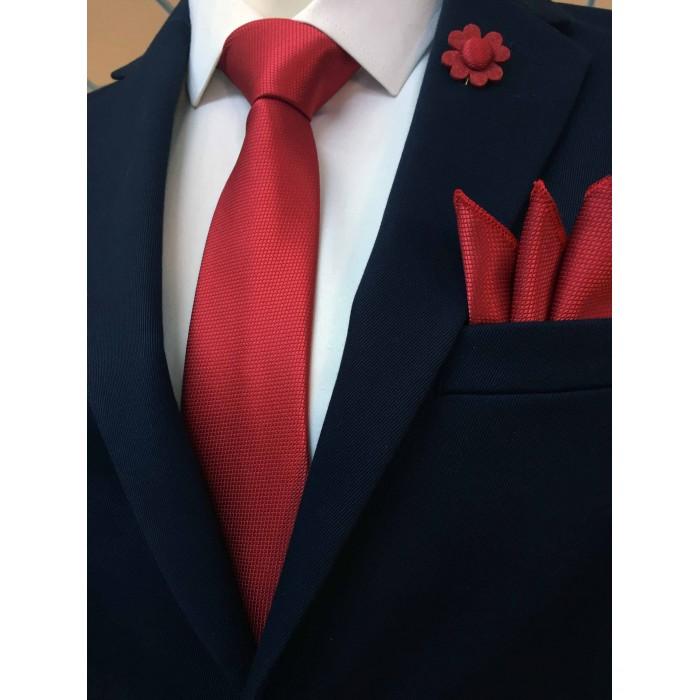 Kırmızı Kravat Mendil Yaka Çiçeği Set- Brianze