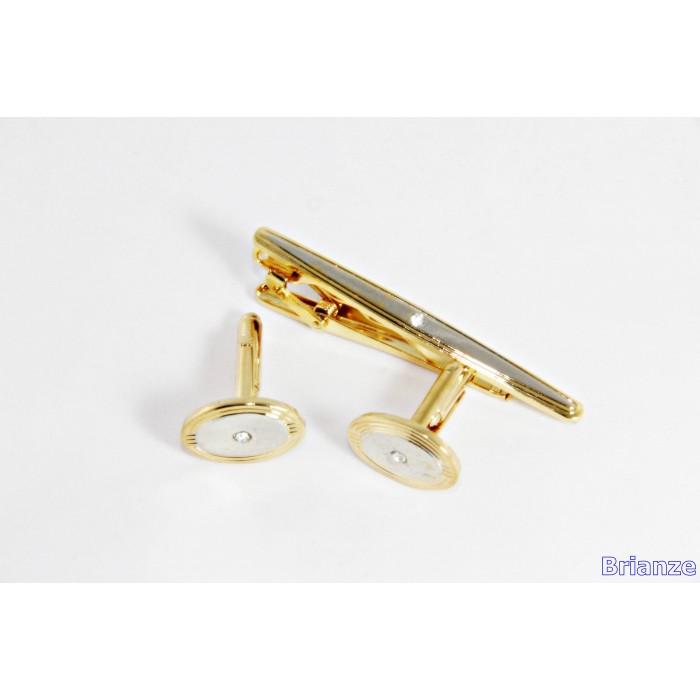 Altın Sarısı Taşlı Yuvarlak Kol Düğmesi ve Kravat İğnesi Set - Brianze