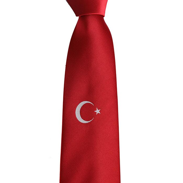 Türk Bayrağı Desenli Dokuma Kravat - Brianze