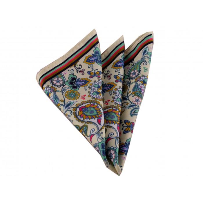 Renkli Çiçekli Krem Mendil-Brianze M-56