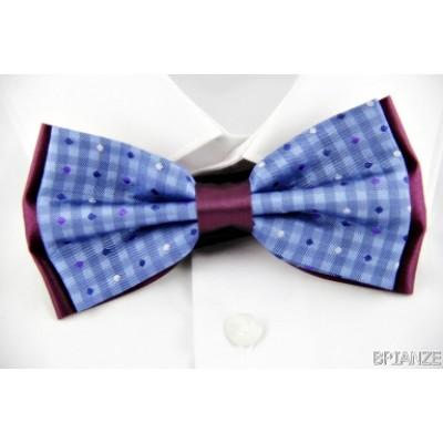 Noktalı Çizgili Bordo Mavi Papyon - Brianze